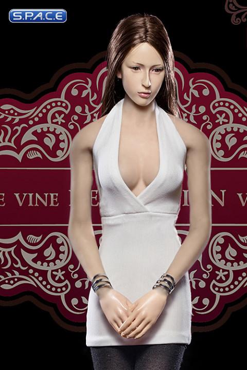 1/6 Scale Ladies white low-cut Halter Dress Set