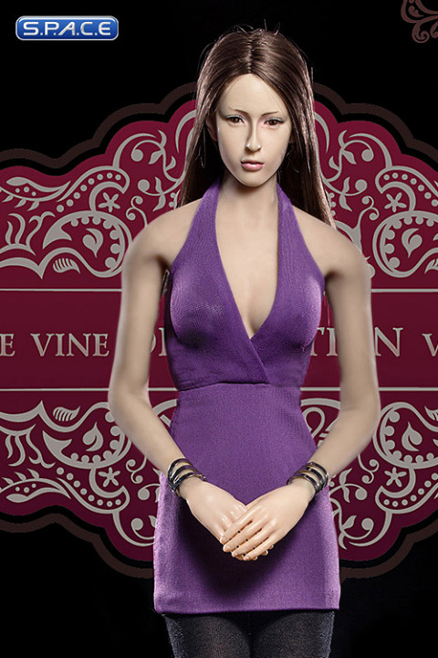 1/6 Scale Ladies purple low-cut Halter Dress Set