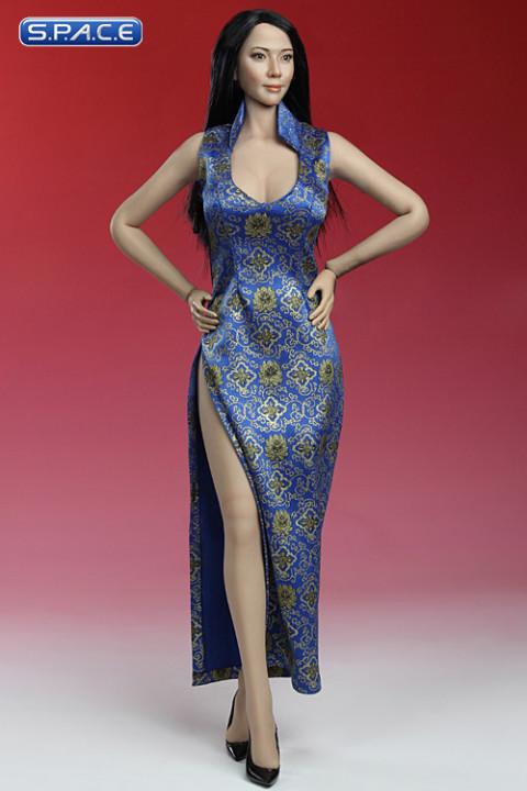1/6 Scale Cheongsam Dress (blue)