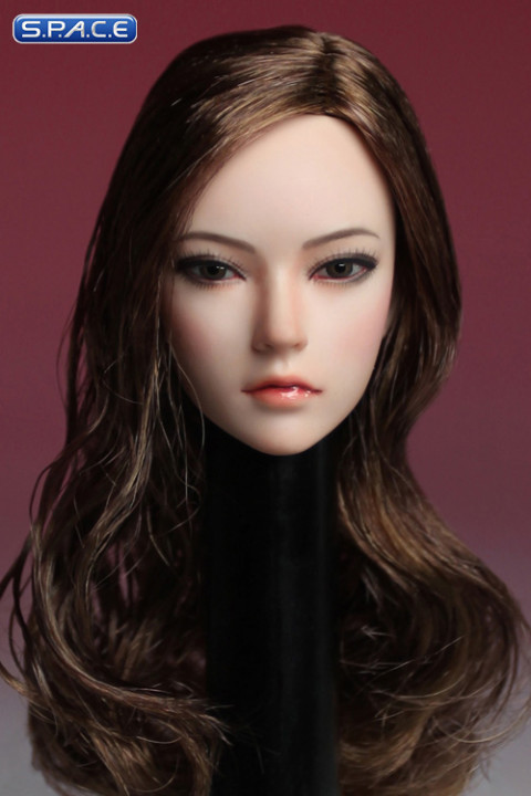 1/6 Scale Female Head Sculpt (brunette long curly Hair)