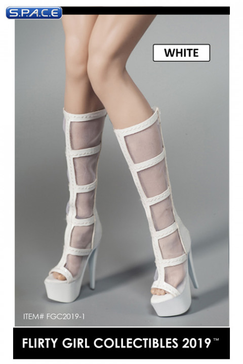1/6 Scale Female Cutout Platform Boots with fine Mesh (white)