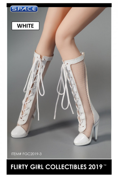 1/6 Scale Female Lace-up Boots with Fishnet (white)