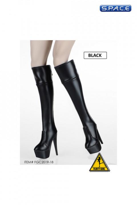 1/6 Scale Female Heeled Zip Boots (black)