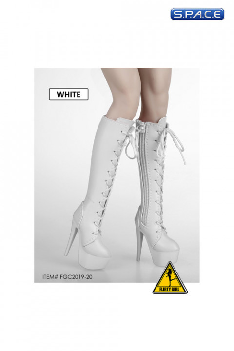 1/6 Scale Female Heeled Lace-up Boots (white)