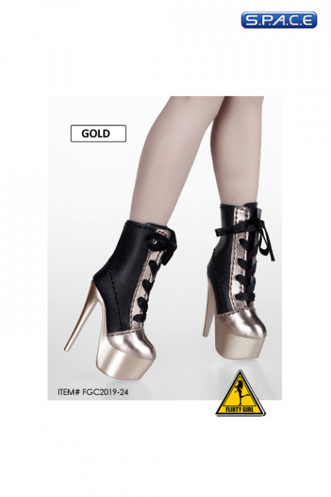 1/6 Scale Female Heeled Lace-up Ankle Boots (black/gold)