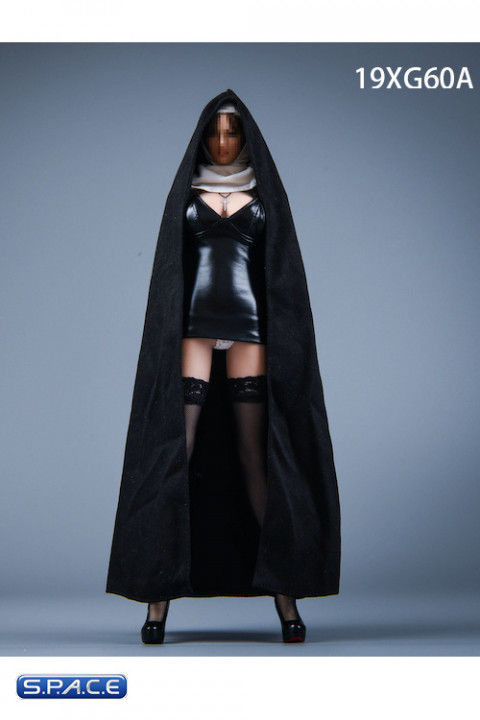 1/6 Scale Nun Leather Clothing Set with mini-dress