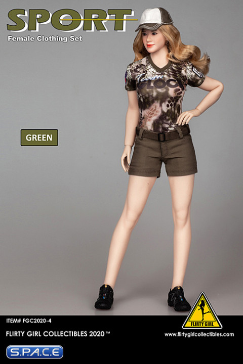 1/6 Scale Female Clothing Set with shorts (green)