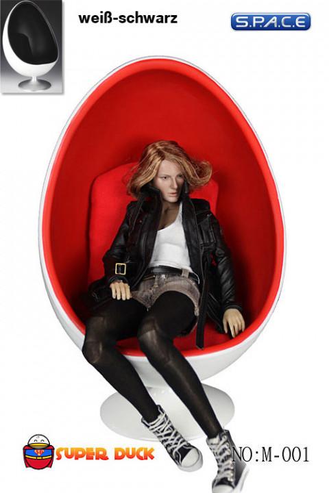 1/6 Scale Egg Chair - White/ Black (M-001-B)