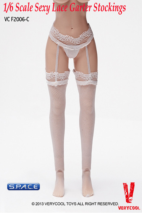 1/6 Scale Sexy Lace Garter Stockings (White)