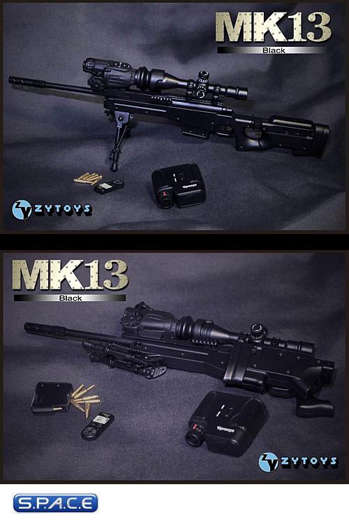 ZY TOYS 1/6 Scale Sniper MK13 Black Machine Gun Model For