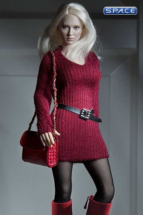 Vogue 1/6 Scale Female Red Lace Pattern Fashion Stocking