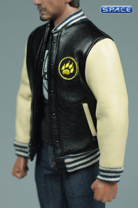 1/6 Scale black and white Leather Jacket and Jeans Set