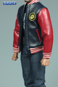 1/6 Scale black and red Leather Jacket and Jeans Set