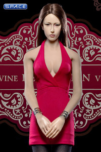 1/6 Scale Ladies red low-cut Halter Dress Set