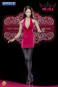 1/6 Scale Ladies red low-cut Halter Dress Set