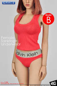 1/6 Scale Female pink Tanktop and Underwear Set