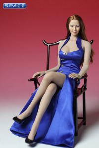 1/6 Scale blue Cheongsam Dress Set