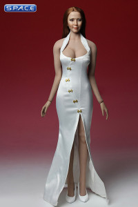 1/6 Scale white Cheongsam Dress Set