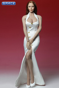 1/6 Scale white Cheongsam Dress Set