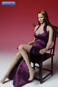 1/6 Scale purple Cheongsam Dress Set