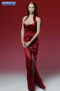 1/6 Scale red Cheongsam Dress Set