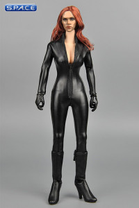 1/6 Scale Black Female Leather Jumpsuit