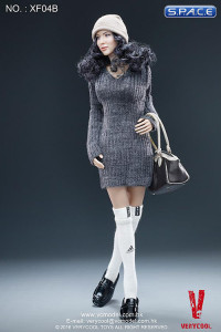 1/6 Scale Female Body w/ Asian Head Sculpt (black curly hair)