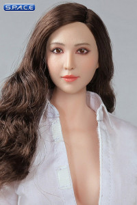 1/6 Scale Asian Female Head Sculpt (curly brunette hair)