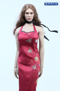 1/6 Scale red patterned Cheongsam Dress Set