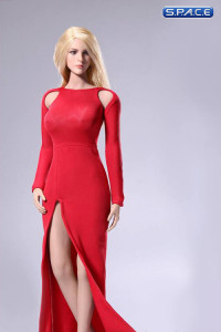 1/6 Scale Bare-Shouldered Evening Dress Suit red