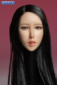 1/6 Scale Female Head Sculpt with tongue (long black hair)
