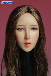 1/6 Scale Female Head Sculpt with tongue (long brown hair)