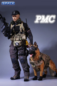 1/6 scale PMC - Private Military Contractor with German shepherd