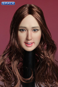 1/6 Scale Female Asian Head Sculpt (brunette long curly Hair)