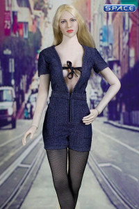 1/6 Scale sexy denim Jumpsuit dark blue