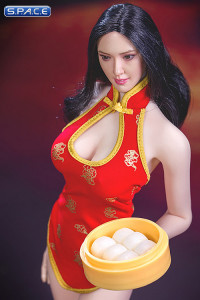 1/6 Scale red Cheongsam Waitress Dress Set
