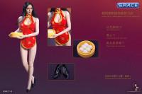1/6 Scale red Cheongsam Waitress Dress Set