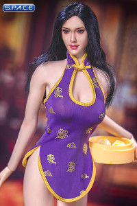 1/6 Scale purple Cheongsam Waitress Dress Set