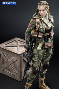 1/6 Scale Camouflage Women Soldier - Flower Jungle Phython Stripe Version