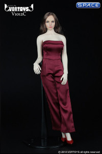 1/6 Scale red Female conjoined Skirt with High Heels