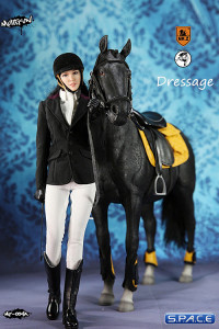 1/6 Scale black Horse and Dressage Outfit Set
