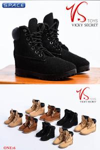 1/6 Scale black suede-optics female Boots