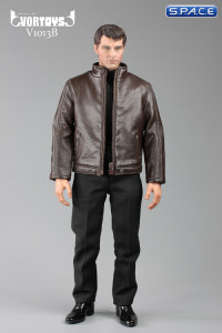 1/6 Scale brown Spy Killer Leather Jacket Set