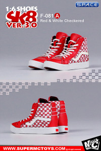 1/6 Scale red & white checkered Suede Shoes