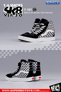 1/6 Scale black & white checkered Suede Shoes