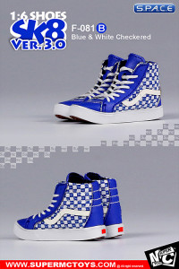 1/6 Scale blue & white checkered Suede Shoes