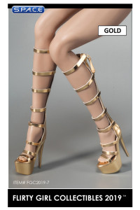 1/6 Scale Female Knee High Summer Boots (gold)