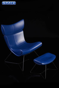 1/6 Scale blue Designer Chair with Ottoman