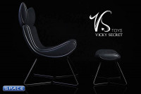 1/6 Scale black Designer Chair with Ottoman