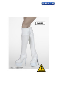 1/6 Scale Female Heeled Zip Boots (white)